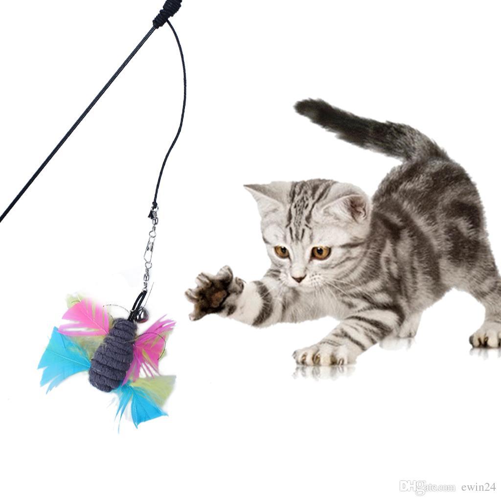 6 Упак. Красочные Перо Кошка Игрушка Выдвижной Палочка Стержень С 5 Замена Головы Перо Игрушки Тизер Catcher
