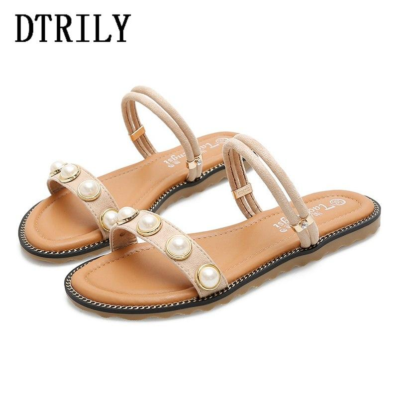 f313108a8 Woman Shoes Rome Flats Slippers String Bead Beach Mules Ladies Slides Big  Size Sandals Zapatos Mujer Black Army Green Apricot High Heel Shoes  Wholesale ...