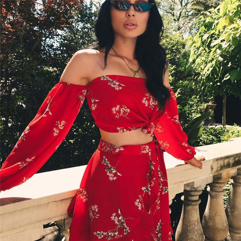 ba7fbcadd2c 2019 2018 New Hot Summer 2 Two Piece Set Women Sexy Off Shoulder Ruffles  Tops Skirts Set Floral Print Female Casual Holiday Outfits From Vanilla04