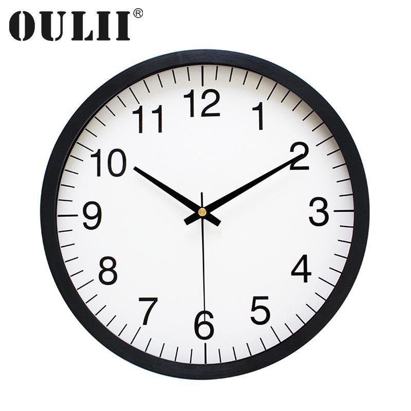 Oulii 10 Inch Minimalist Wall Clock Creative Silent Clock For ...