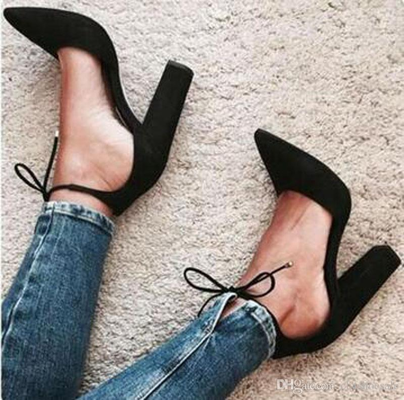 7bfa00d37dd New Fashion Women Elegant Pointed Toe Suede Leather Chunky Heel Pumps Ankle  Strap Lace-up Thick High Heels Formal Dress Shoes
