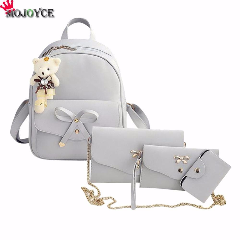 9fe02e87928f Bags For Teenage Girls PU Leather Women Backpack Cute Bow School Bags For Teenage  Girls Backpacks Fashion Chains Shoulder Bag Purse Running Backpack Osprey  ...