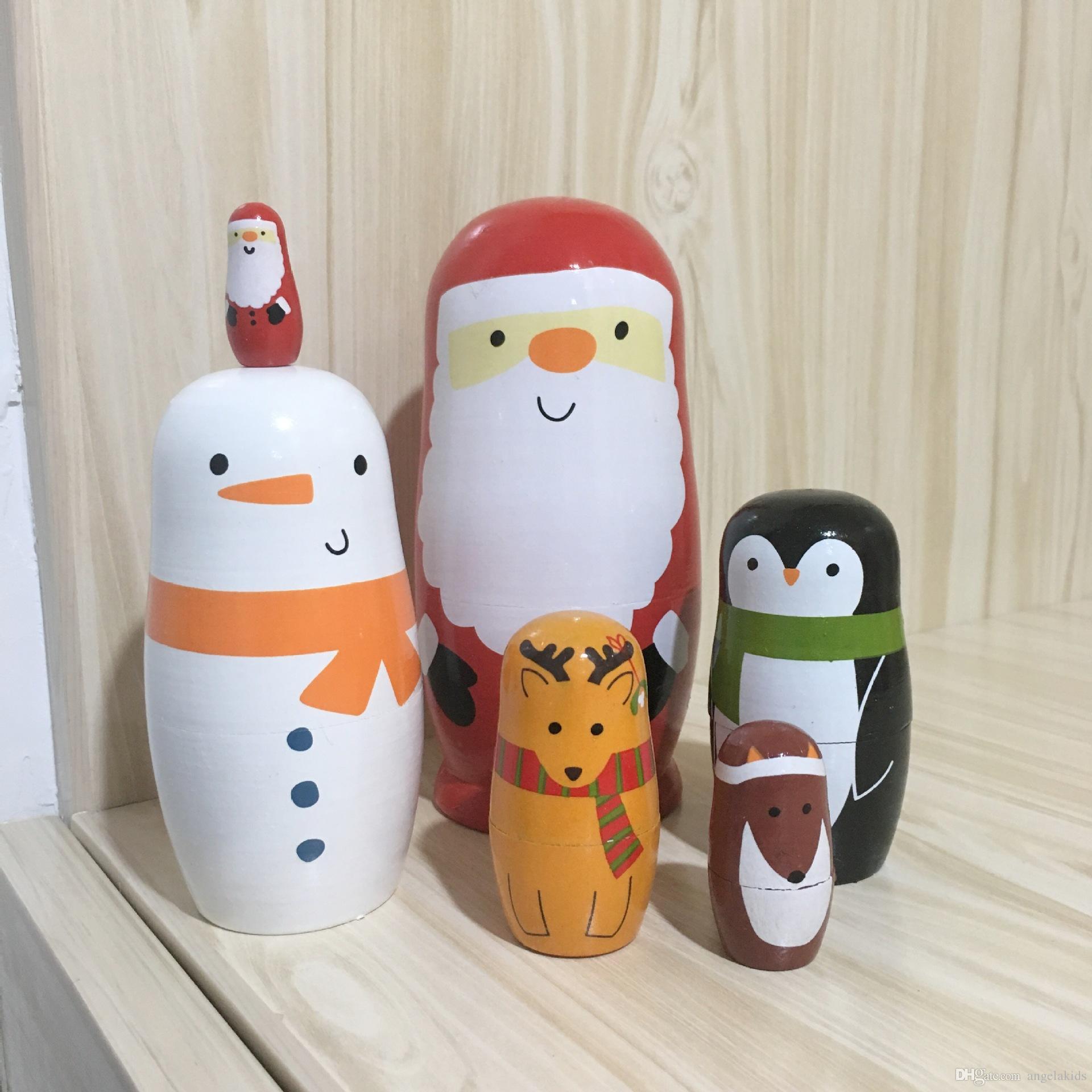 Russian Nesting Dolls Wooden Russian Nesting Dolls Matryoshka Handmade Animall Kids Toys Gift Nativity Decoration