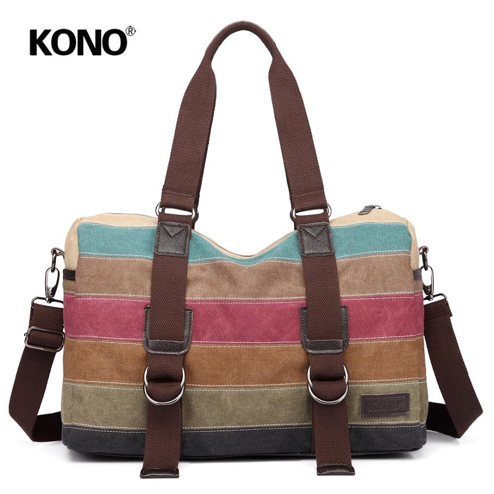 e88a097072 KONO Women Rainbow Big Handbag Canvas Multi Color Stripes Hobo Top Handle Bags  Cross Body Messenger Satchel Shoulder Bag YD1710 Bags For Sale Handmade ...