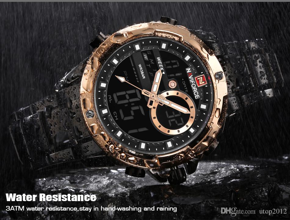 DHL NAVIFORCE Luxury Brand Men Led Digital Sports Watches Male Waterproof Quartz Clock Mens Military Wrist Watch Relogio Masculino 9120
