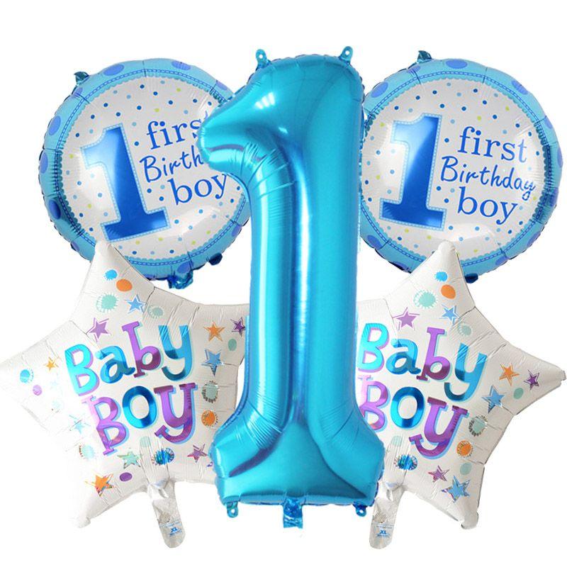 Acquista 5 Pezzi Baby 1 Compleanno Palloncini Set Rosa Blu Numero