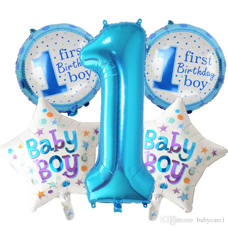 5 pièces bébé 1er anniversaire ballons ensemble rose nombre bleu Foil Balloons décorations de fête d'anniversaire enfants fête décoration fournitures