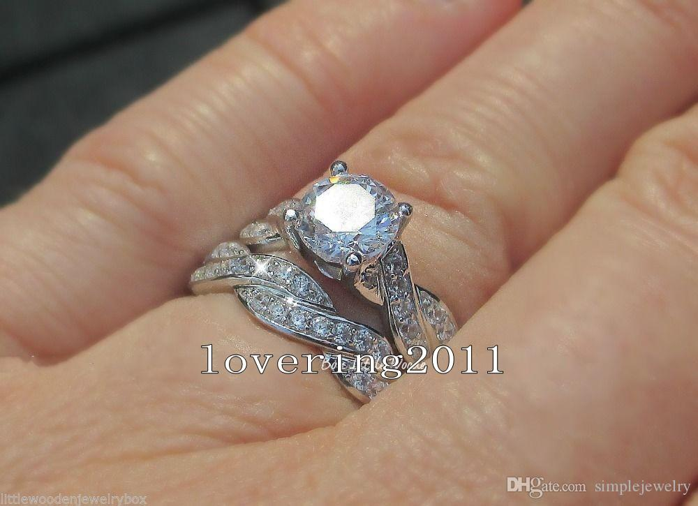 choucong Round cut 7mm Stone 5A Zircon stone 10KT White Gold Filled 2 Wedding Band Ring Sets Sz 5-11 Gift