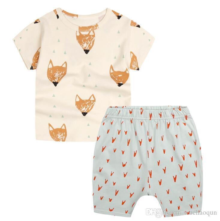 8c09cfb9e3b Summer Boys INS Fox Sets 2018 New Children Cartoon Pure Cotton Short Sleeve T  Shirt +Shorts Suit Baby Clothes UK 2019 From Wuchaoqun