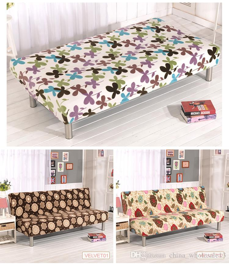 Phenomenal Plush Fabric Printed Fold Armless Sofa Bed Cover Folding Seat Slipcover Thicker Covers Bench Couch Protector Elastic Futon Coveraei 024 Download Free Architecture Designs Scobabritishbridgeorg