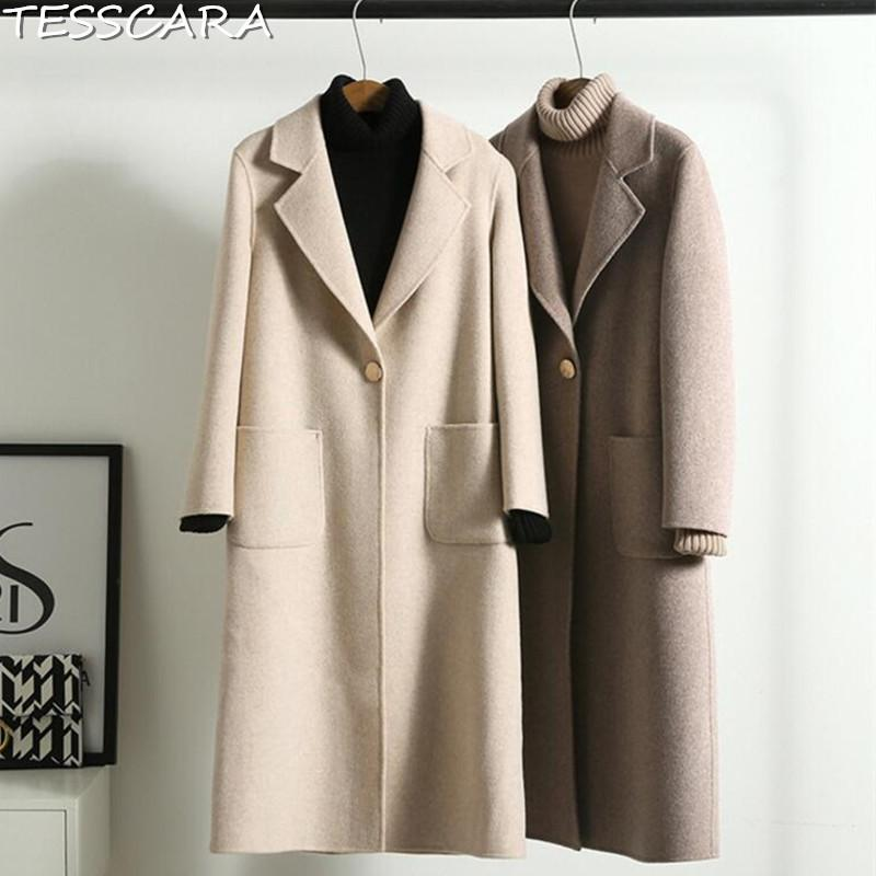 2019 TESSCARA Women Autumn Winter Casual Cashmere Jacket Coat Female Wool  Blend Trench Overcoat Camel Hair Jackets Outerwear   Coats From Modleline 97fe9047a