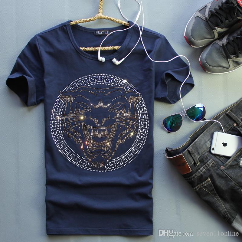 check out 941e9 19468 Magliette corte da uomo di colore blu con tiger luxury design di lusso  Magliette maniche corte di cotone da uomo di marca magliette o-collo di  cotone ...
