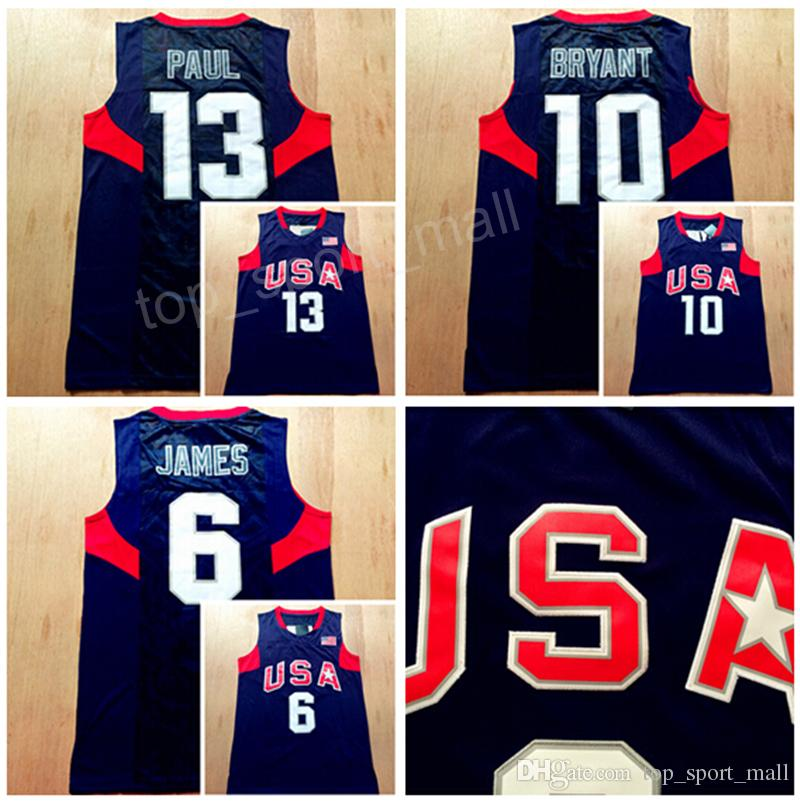 quality design d314b 662ff 2008 US Dream Team Eight Jersey Navy Blue 6 LeBron James 10 Kobe Bryant  Chris Paul Jersey 13 Basketball Uniform White Men America