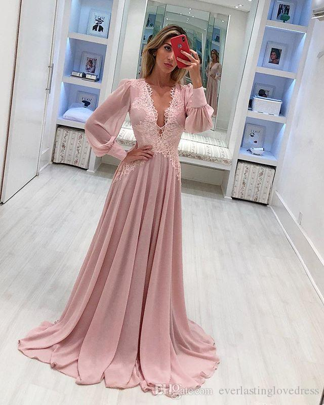 Blush Pink Chiffon Elegant Evening Dresses with Long Sleeve Lace Formal Dress Dusty Pink robe de soiree longue nouvelles
