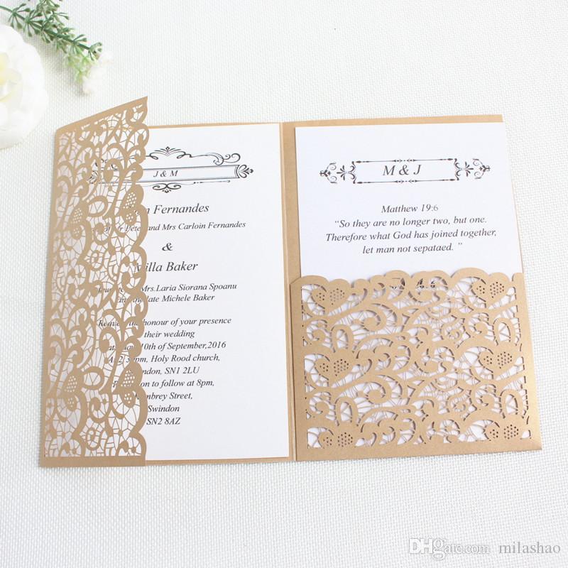 wedding invitations laser cutting gold navy blue burgundy tri fold