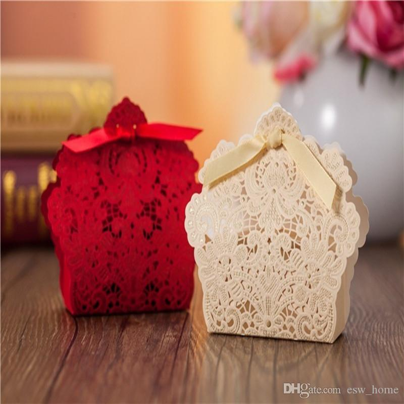 Embossed Lace Laser Cut Wedding Favor Boxes Hollow Flower Wedding