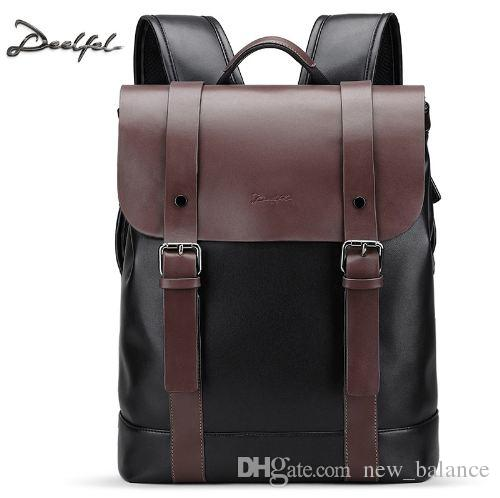 f01b88b4e2a9 Deelfel Soft Leather Backpack Men Business Rucksack Fashion Bag Student Schoolbags  Men Travel Bags For Teenagers Backpacks Back Packs Rolling Backpacks From  ...