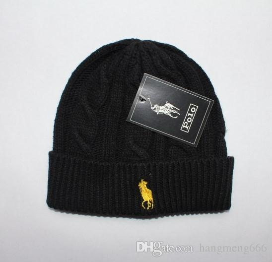 2018 Hot POLO Beanies Small Horse Embroidery Knitted Autumn Winter Warm Hats  Men Women Couple Outdoor Skull Cap Gorro Black White Grey Crazy Hats Mens  ... 665f95ae0b2