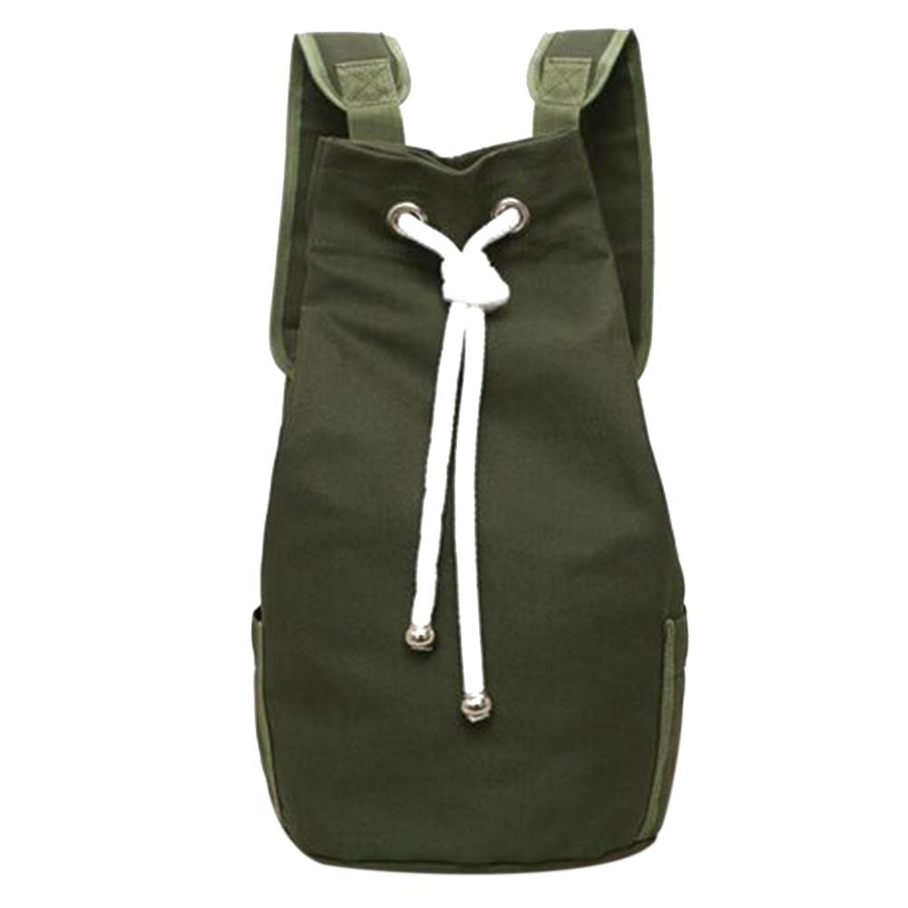 Casual Men Canvas Backpack Large Capacity Barrel Backpack Army Green String  Drawstring Daypack For Men Back Pack Backpacks 2018 Swiss Backpack Laptop  ... d3aa73e4d3