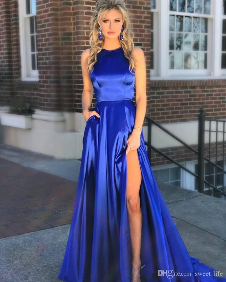 2019 Long Royal Blue Prom Dresses Cut Out Back High Slit Side Full Length Sexy Hollow Back Sleeveless Custom Made Stylish Party Evening Gown