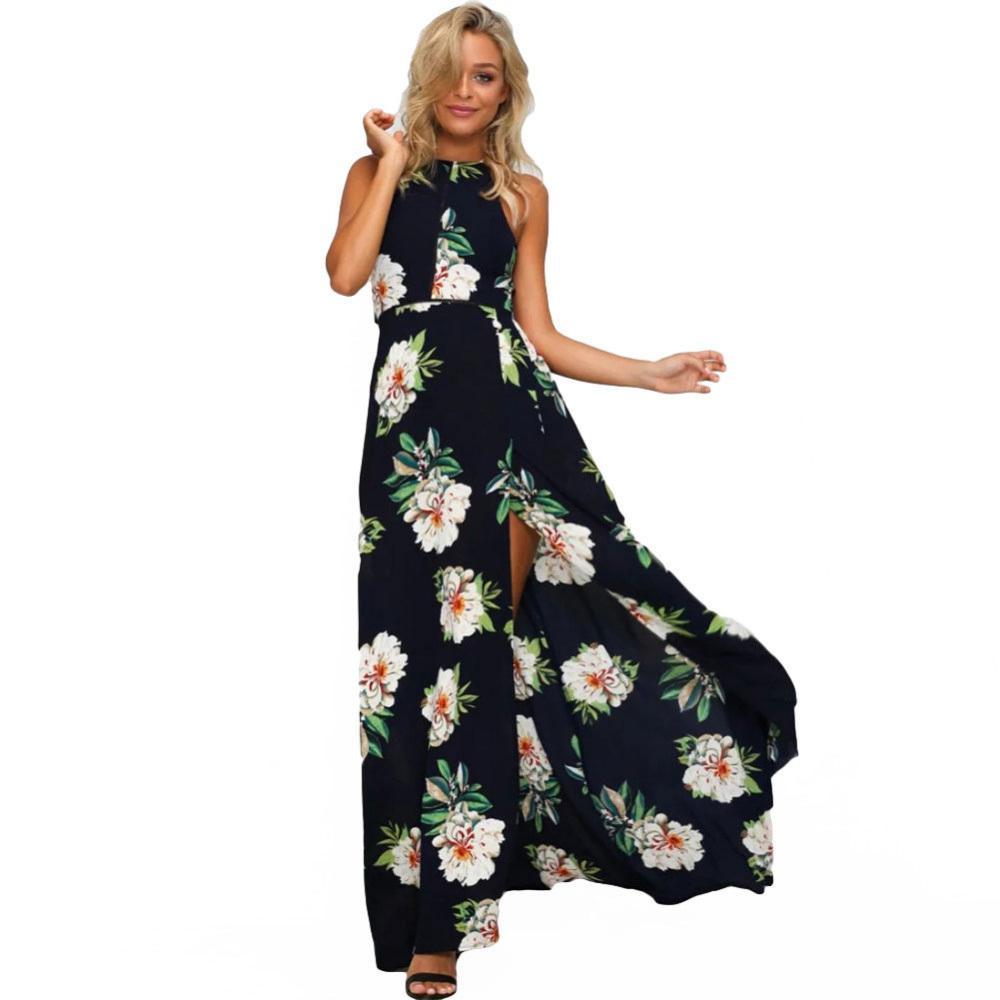 1ce1f305a3 2019 Women Halter Neck Chiffon Dress Floral Print Sleeveless Split Backless  Long Dress Elegant Hollow Out Beach Maxi Boho Dress Online with  $39.12/Piece on ...