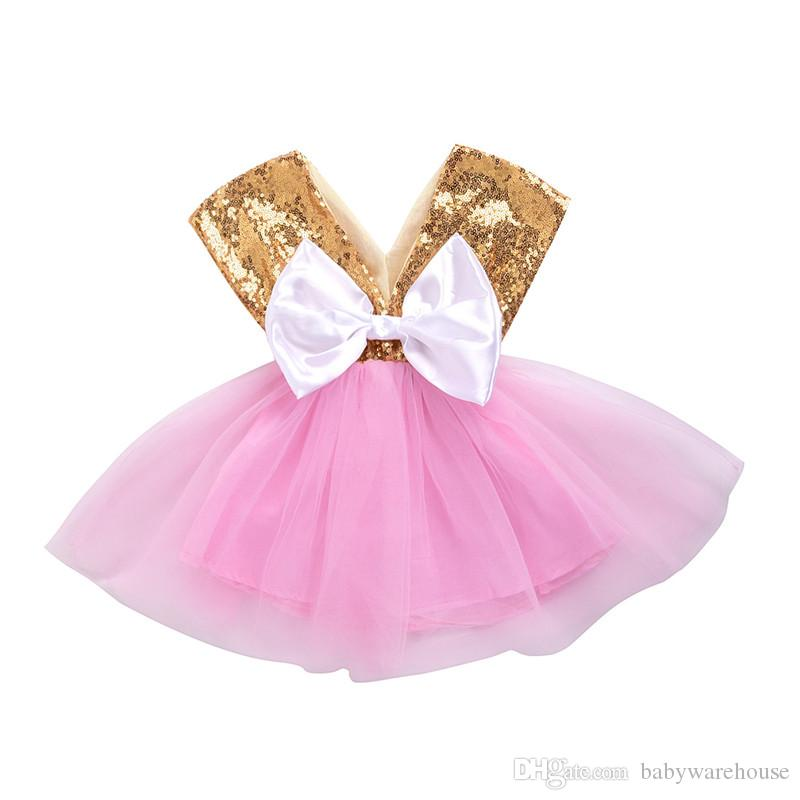 2e79143c825 2019 2018 Baby Girl Summer Clothes Cute Infant Girl Sequin Princess Party  Birthday Pageant Dress Kids Baby Girl Tutu Dress With Back Big Bow From ...