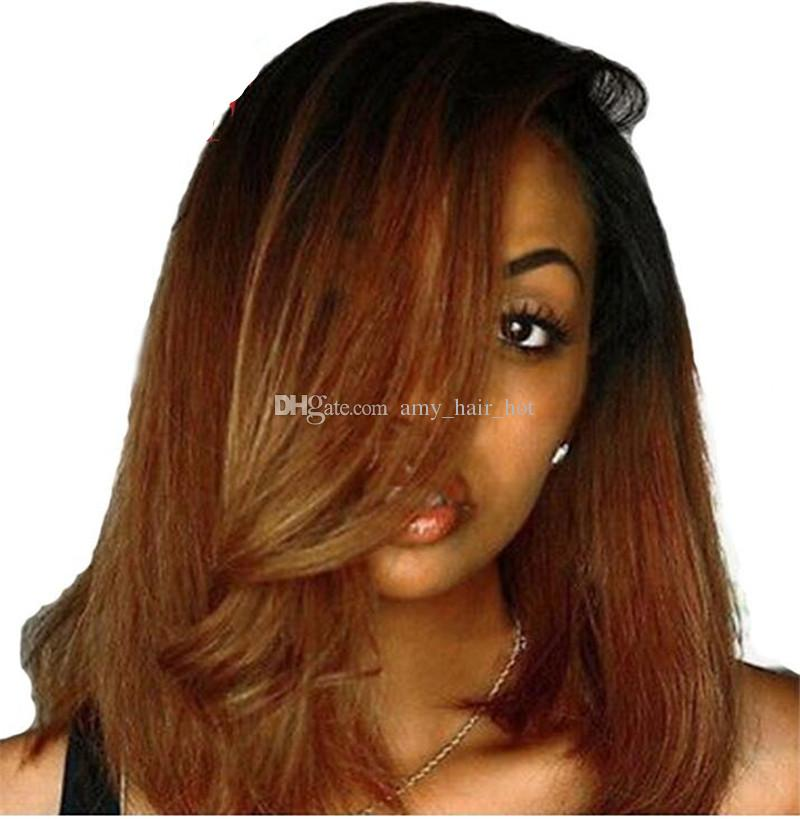 Lace Front Human Hair Bob Wigs Two Tone Blonde Brazilian Short Remy Hair Wig Silky Straight Ombre Color With Bleached Knots