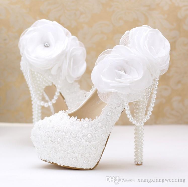 86fa1f67303 Pearl Wedding Shoes Bride High-heel white Lace flowers Super high heel and  platform White pearls shoes