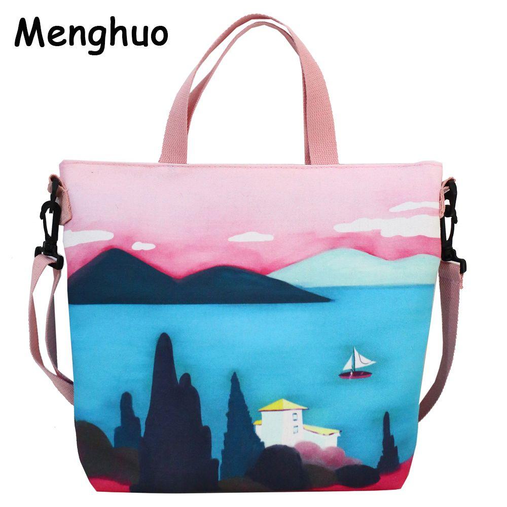 ddf731f01da7 Menghuo 2018 Fashion Women Handbag Tote Bag Ladies Casual Landscape  Printing Canvas Shoulder Bag Beach Shopping Bolsa Feminina Leather Purses  Cheap Designer ...