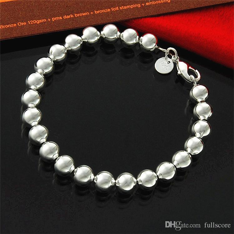 silver plated bracelet S925 jewelry silver plated fashion jewelry 8mm Hollow Beads Bracelet Factory Wholesale 218 New
