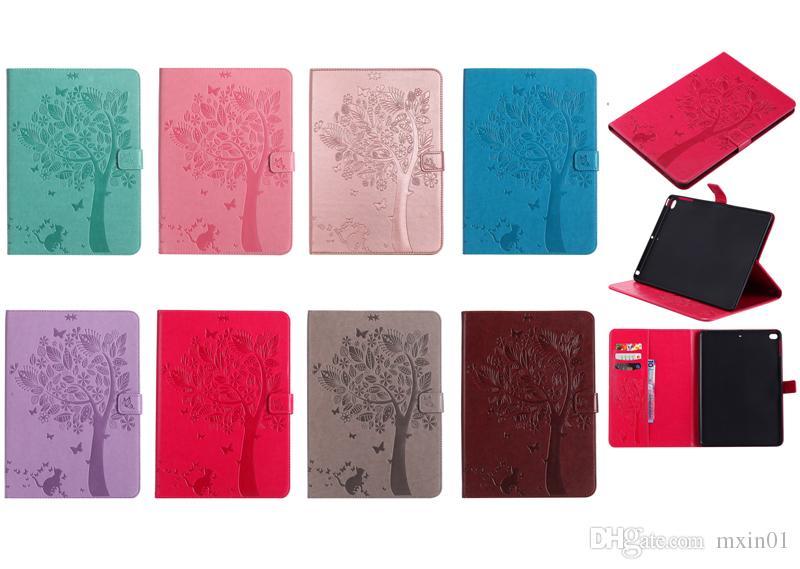 Custodia a Portafoglio in Pelle Ragazza Cat Flower Tree iPad 2017 2018 9.7 Pro 10.5 2 3 4 5 6 Air Mini Samsung Tab T280 T385 T580 T350 T550 T560