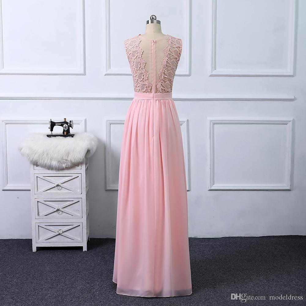 2019 Hot Sale Country Bridesmaids Dresses Lace Top A Line Long Chiffon Summer Beach Maid of Honor Wedding Guest Party Gowns Cheap Customized