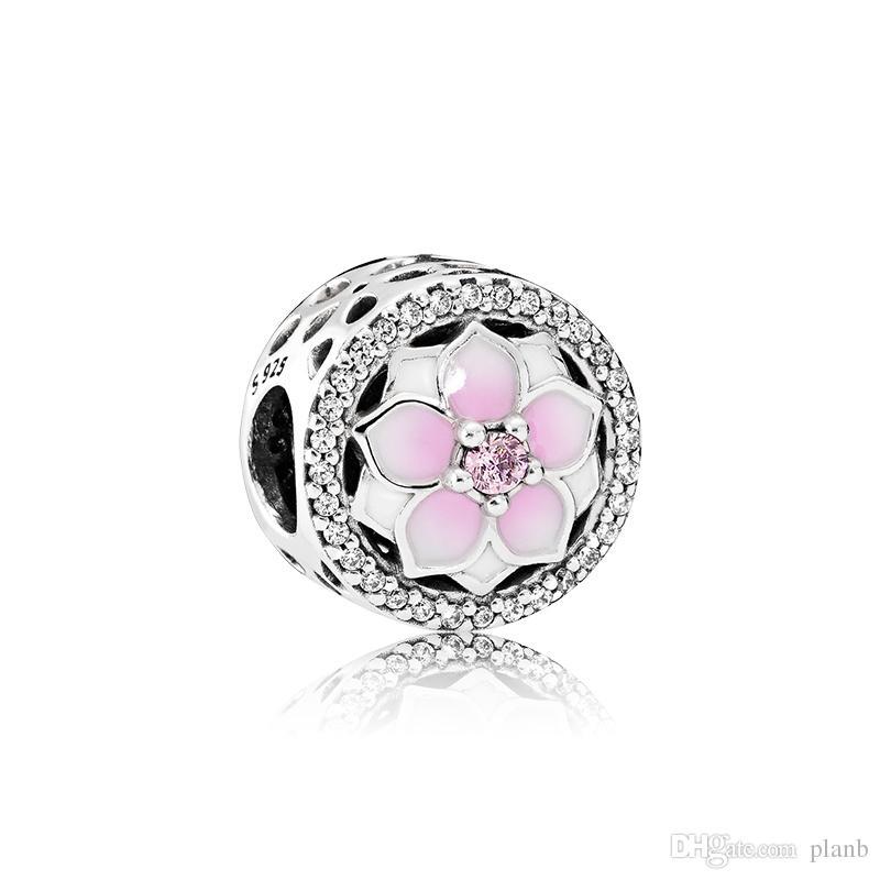 d5a633b0f086 Envío gratis flores de esmalte rosa. Encanto 925 plata esterlina encantos  europeos perlas Fit Pandora serpiente cadena pulsera DIY joyería