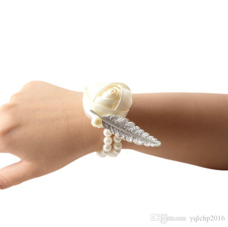 Wedding Decorations Crafts Simulation Flower Rose Satin Bride Wrist