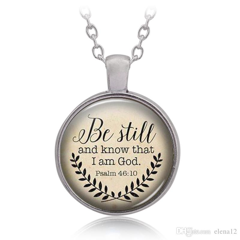 Bible Verse designer necklace 'Be Still and Know That I am God' Pendant Psalm 46:10 Quote Handmade Necklaces hip hop bling chains