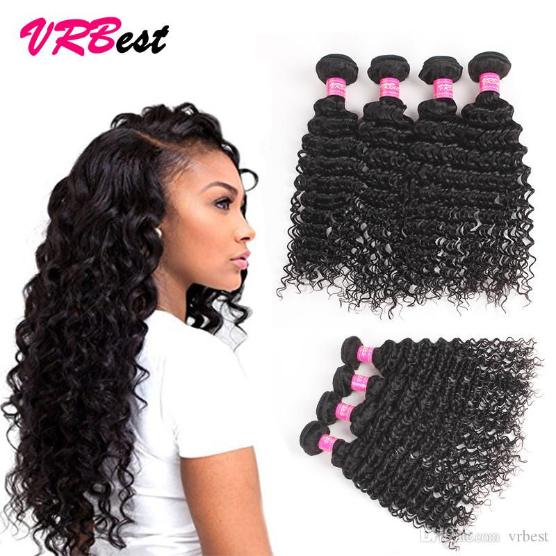 8a Indian Human Virgin Hair Extensions 4 Hair Bundles Indian Deep