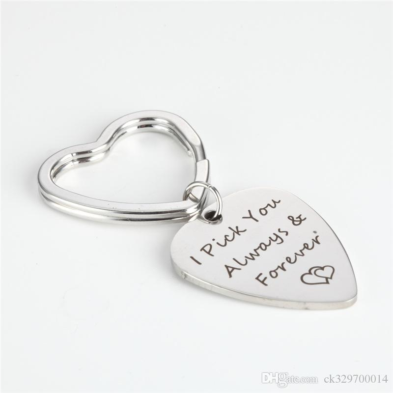 wholesale I Pick you always & Forever engraved pendnat keychain guitar pick keychain For diy Jewelry Accessories gift