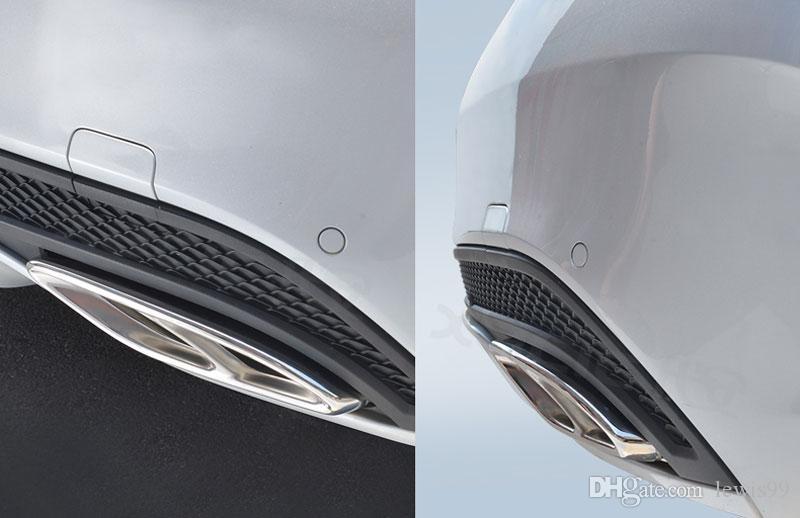 2 قطع لمعان الصلب غطاء العادم الديكورات لمرسيدس بنز glc a b c الفئة c207 كوبيه 2014-2017 w212 w213 w205 x253 c180 c200 جزء سيارة التصميم