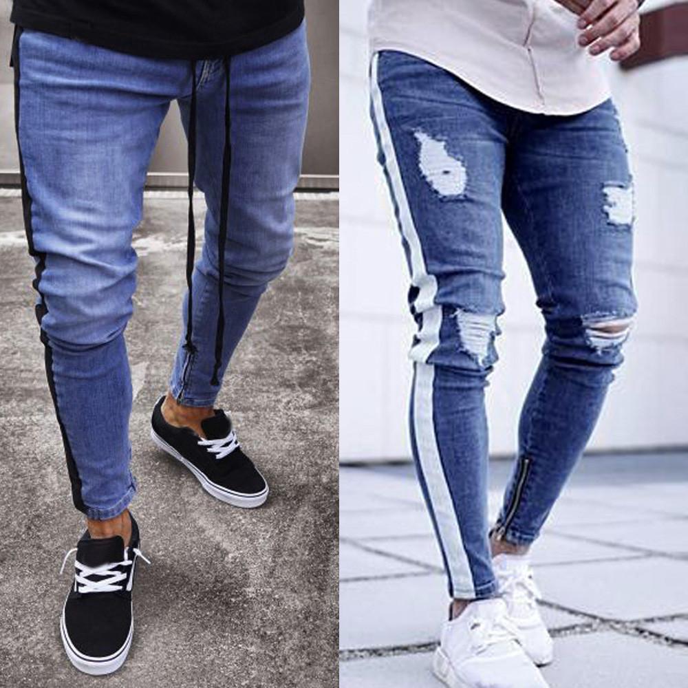 00a024db84 Compre Pantalones Vaqueros Rasgados Para Hombres Stretch Denim Pants Ripped  Freyed Slim Fit Zipper Jeans Pantalones Drop Shipping A  26.22 Del Ingridea  ...