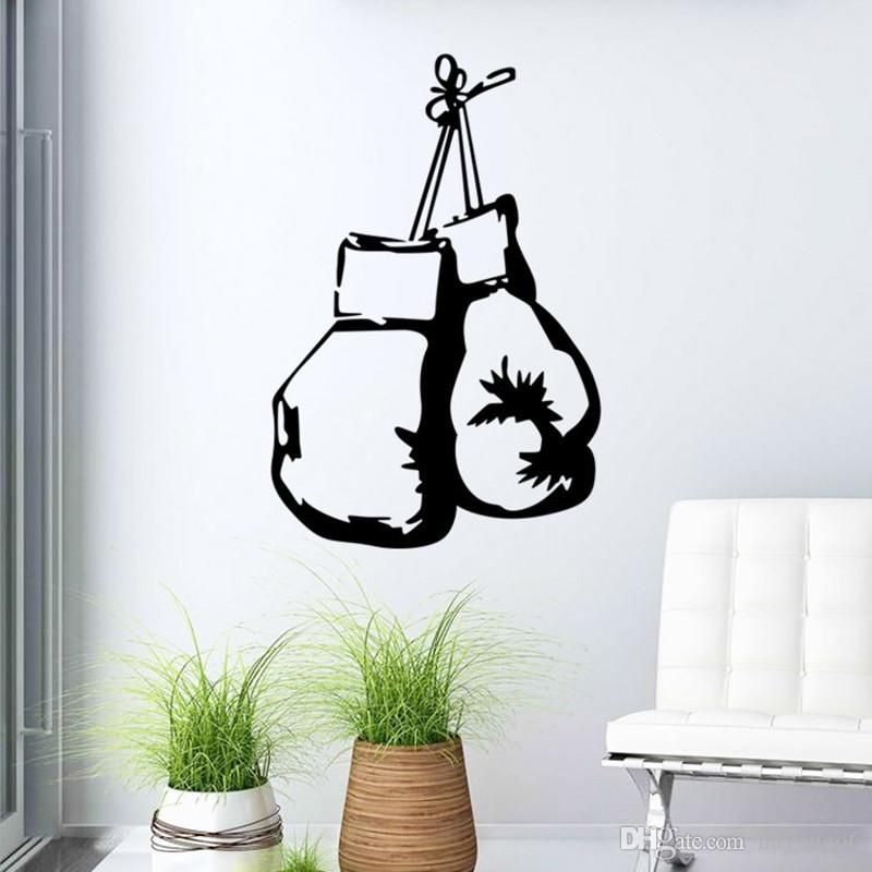 Modern style boxing glove wall decals wholesale removable vinyl wall art stickers for home or office boy bedroom decor reusable wall decals reusable wall