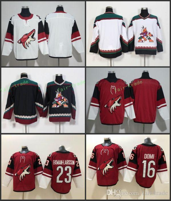 5029bbc8351 2019 2018 New Arizona Coyotes Jersey Mens 23 Oliver Ekman Larsson 16 Max  Domi Jersey Red Authentic Stitched Blank Hockey Jerseys From Fair Trade, ...