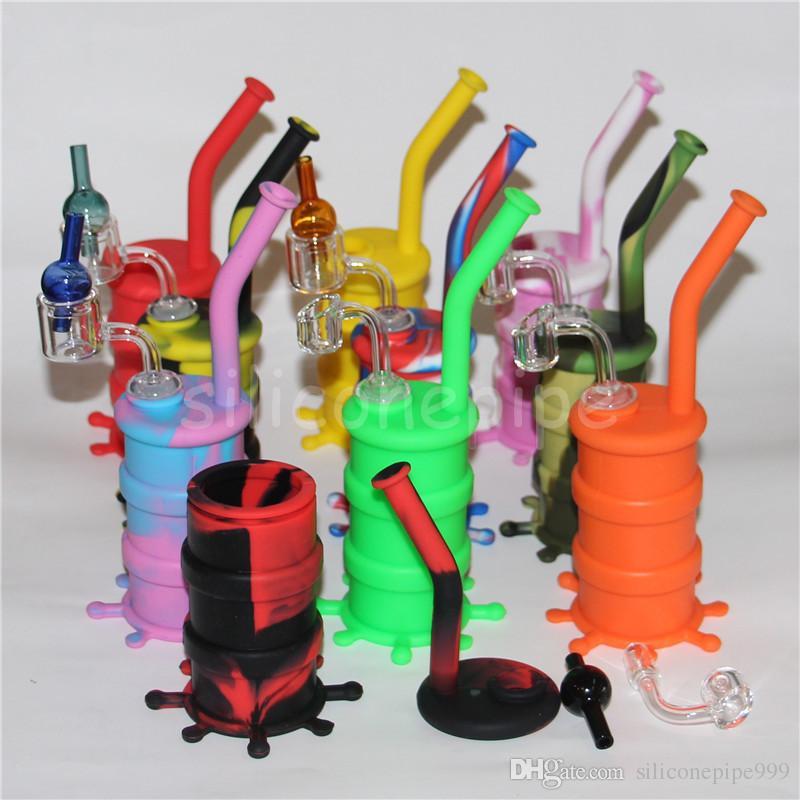 Silicone Rig silicone tubo di fumo Mano cucchiaio tubo narghilè bong olio di silicone dab rig con strumento dabber fumatori dab rigs