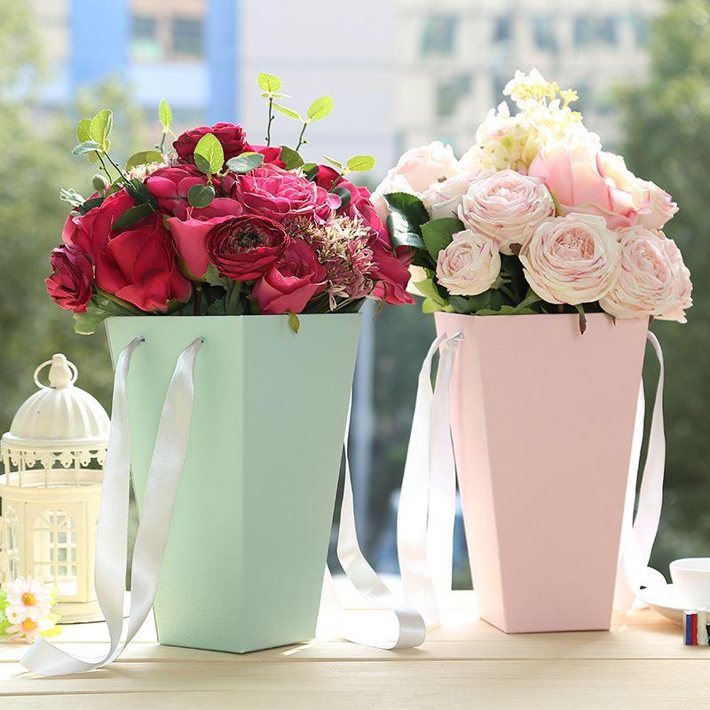 Acheter Multi Couleurs Papier Boite Cadeau Popcorn Seau Forme Fleur