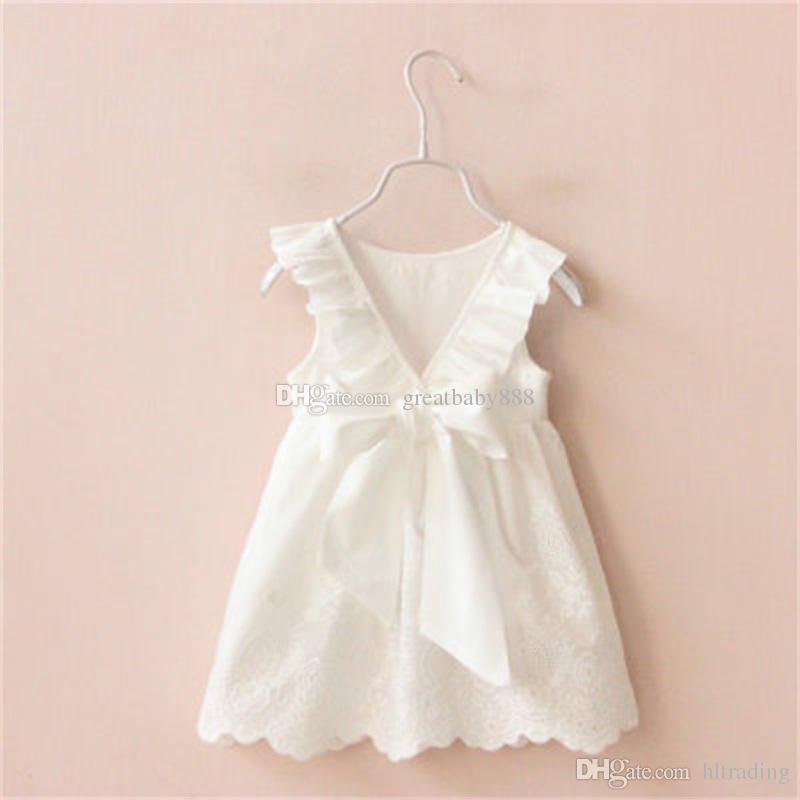 Online Cheap New Baby Girls Pure White Dress Summer Cotton Children ...