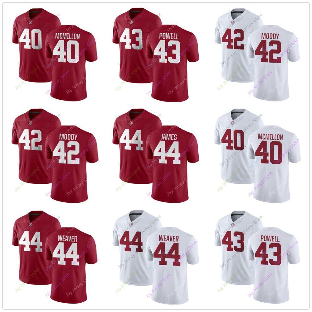 298564c88 2019 NCAA Alabama Crimson Tide College Jersey 40 Joshua McMillon 42 Jaylen  Moody 43 Daniel Powell 44 Cole Weaver 44 Kedrick James Home Red White From  ...