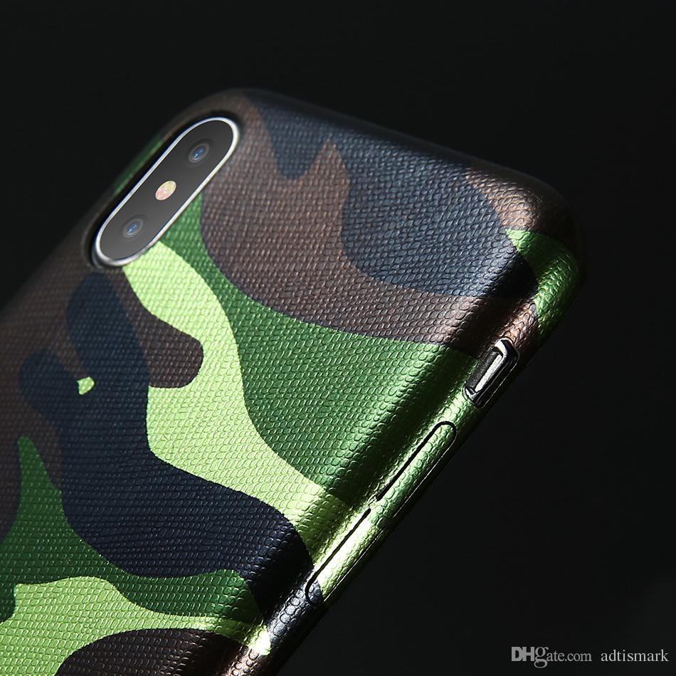 Камуфляж телефон Case для iPhone 7 7 Plus X Case искусственная кожа армия камуфляж противоударный задняя крышка для iPhone 5 5s 6 6 S 8 Plus