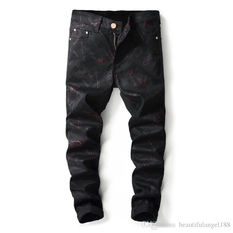 European American Style 2018 fashion men jeans luxury Men's casual denim trousers black Slim Straight jeans for men
