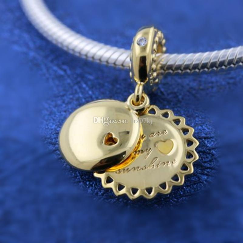 bcc2ce6e5 2019 925 Silver With Yellow Gold Plated You Are My Sunshine Pendant Charm  Bead Fits European Pandora Jewelry Bracelets Necklaces & Pendants From  Lrz97kj, ...