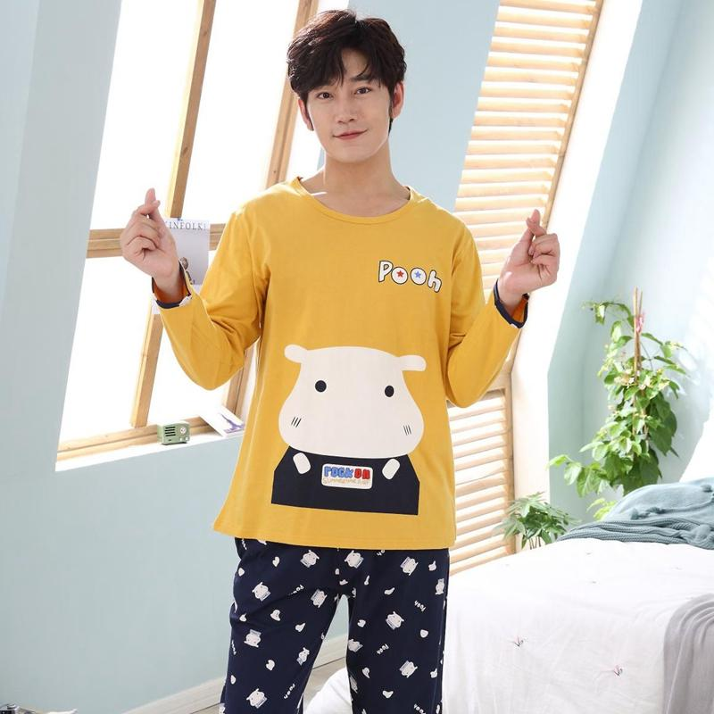 High Quality Casual Cotton Pajamas Sets For Men 2018 Autumn Winter Long Sleeve Pyjama Male Homewear Loungewear Mens Home Clothes Men's Sleep & Lounge Underwear & Sleepwears