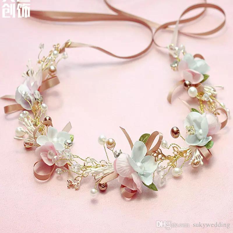 Pink Wedding Headpieces Stunning Rhinestone Headbands Hair Flowers
